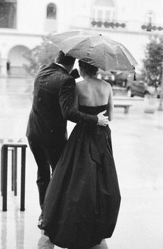 romance, umbrella, rain, black and white, photography