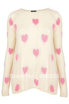 Schicken Mehr Pullover Information über Neue Mode Frauen Sweet Heart Druck  Pullover O Hals Langarm Strick 82eef98449