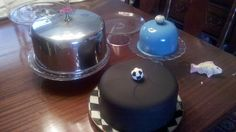 The blue dome (that is just screaming for a GIANT cupcake :) was the mixing bowl that I put a hole in with a nail, primed and painted, then put a pretty ceramic knob in. The compote below I created by putting together with epoxy a fluted plate and a small icecream sundae glass