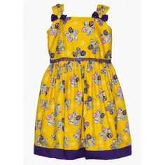Moms Girl Yellow And Purple Cotton Summer Frock #summerdresses #dressesforgirls #babyfrocks