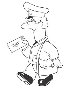 Black and white picture of Postman Pat