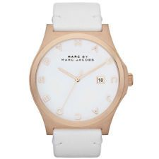 MARC JACOBS WOMENS WHITE LEATHER WHITE DIAL ROSE GOLD CALENDAR WATCH * MBM1212