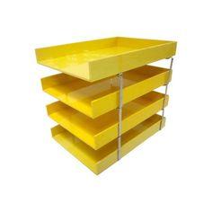 Image of Pop Art Yellow Plastic Desk Tray Organizer