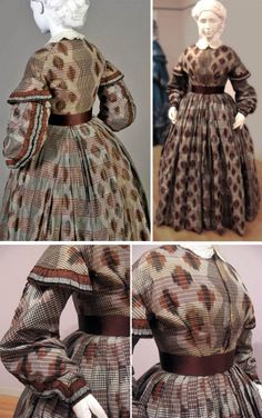 Day dress, American, early 1860s. Probably altered from earlier dress--textile dates to 1850s. Brown, beige, & black woven silk ikat, stripes, and ikat checks. Sleeves  trimmed with brown & plaid ribbon on outside edge. Kent State Univ. Museum Pinterest