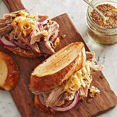 That's right -- pour in that icy bottle of beer. This playful pork take on the classic reuben sandwich is slow-cooked and dripping in tangy Dijon-beer goodness. Serve with a slice of hearty bread or as an open-face sandwich to keep calories low.