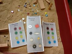 Can you find these treasures Fabby new idea for the sand tray! Pirate Activities, Sensory Activities, Activities For Kids, Sensory Boxes, Sensory Table, Outdoor Classroom, Classroom Fun, Sand And Water Table, Water Tray