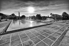 sunset in B & W - susnet in black and White near cascaded fountain pool in cultural park,izmir