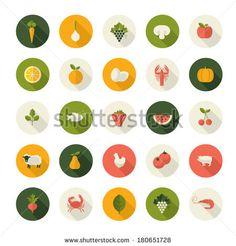 Frutas, verduras y animales en iconos flat design