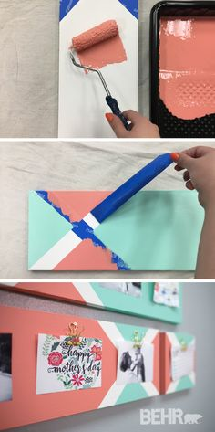Display your favorite pictures or post reminders to yourself with this colorful DIY hanging clip board. Use painter's tape and bright colors like Fish Pond and Indian Sunset to create this fun and trendy look. Click here for the full easy tutorial and get crafting!