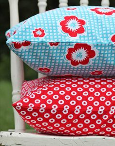 Red & aqua pillows