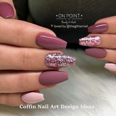 46 Elegant Acrylic Ombre Burgundy Coffin Nails Design For Short And Long Nails -. - 46 Elegant Acrylic Ombre Burgundy Coffin Nails Design For Short And Long Nails – Page 43 of 46 - Mauve Nails, Burgundy Nails, Ombre Burgundy, Burgundy Nail Designs, Matte Pink Nails, Pink Manicure, Sparkly Nails, Purple Nails, Nail Polish
