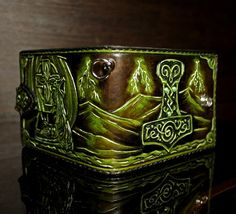 Hand-tooled men's leather wallet Viking wallet Celtic Tandy Leather, Leather Men, Tooled Leather, Leather Tooling Patterns, Leather Carving, Leather Necklace, Brown Colors, Dark Brown Color, Thors Hammer