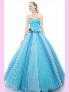Blue Beading Sweetheart Tulle Quinceanera Dress