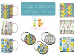 Mugs, Coasters and Pocket Mirror's by JLWIllustration by Jennie Louise whitham — Kickstarter