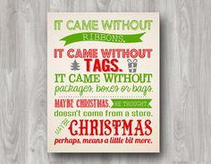 How The Grinch Stole Christmas Printable Quote - Available in Chalkboard or Color on Etsy, $5.00