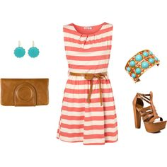 Coral Striped Dress Outfit