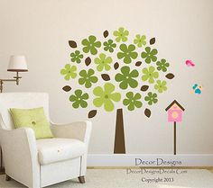 Flower Leaf Tree Printed Fabric Repositionable Wall Decal