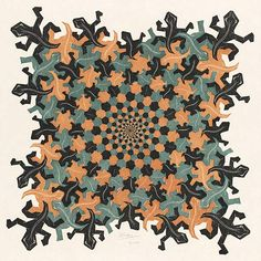M.C. Escher – Development II 1939 Woodcut in brown, grey-green and black, printed from 3 blocks. 455mm x 455mm