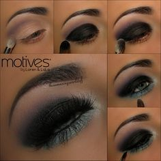 ~Apply the purple shade from the @motivescosmeticsfor@Laura Hunteronto the crease ~Apply the black glitter shade out of the same palette all over the lid~Carefully blend the 2 shades together  ~Darken the waterline with Motives Waterproof Eyeliner in Black Magic & apply Pressed Eyeshadow in Crystal Blue along the lower lash line ~Apply Motives Little Black Dress Gel Eyeliner ~Apply your mascara