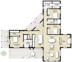 W❤❤❤ House Plans - Truoba Class 115 modern cabin house plan Cabin House Plans, Dream House Plans, Small House Plans, House Plans With Pool, Modern House Floor Plans, Sims House Plans, Room Layout Design, Container House Plans, Container Cabin