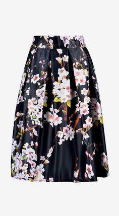 Black Sakura Skater Skirt With Pleat