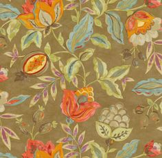 Home Decor Print Fabric- Waverly Modern Poetic Flaxseed.  Beautiful fabric!  Taupe background with light and dark pink, orange, light blue, purple, greige flowers.  Some green on leave but mostly they are gray.  Really stunning fabric.