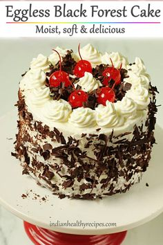 Eggless black forest cake recipe with video & step by step photos. Soft, moist & delicious black forest cake made without eggs. Eggless Chocolate Cake, Eggless Desserts, Eggless Recipes, Eggless Baking, Köstliche Desserts, Easy Cake Recipes, Chocolate Sponge, Black Forest Cake Recipe Indian, Egg Free Cakes