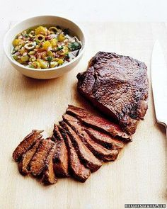 Seared Sirloin Steak with Olive Relish Recipe