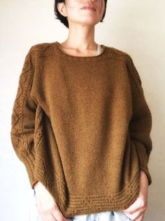 Ravelry: Machi pattern by rievive Knit In The Round, Cable Sweater, Stockinette, Mantel, Knitting Patterns, Knit Crochet, How To Make, How To Wear, Pullover