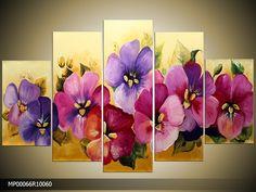 Acrylverf schilderijen | Woonkamer | Kleur: Paars , Roze , Geel | MP00066