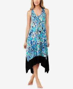 Ellen Tracy Printed Racerback Midi Nightgown - Blue L