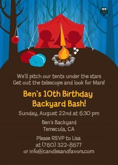 Camping - Birthday Party Invitations  It's a year away, but I need a new project.  Poor W.  Hope he still likes to camp!