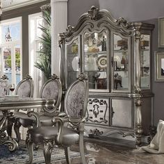 Versailles China (Antique Platinum) Acme Furniture in China Cabinets and Curios. Irresistibly inviting, the Versailles Dining Room Collection by Acme Furniture displays the unrivaled beauty of the traditional dining. Buffet Antique, Wood Buffet, Round Dining Room Sets, Counter Height Dining Sets, Cottage Furniture, Dining Room Furniture, Acme Furniture, Furniture Stores, Upholstered Dining Chairs