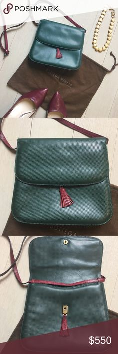 Vintage Bottega Burgundy / Forest Leather Mini Bag Gorgeous vintage mini cross body bag from Bottega, Tassel closure long strap with tie knot at end, burgundy strap and sides, Forrest green cross hatch leather on outer. Rare and stunning. Only flaw is a little wear on sides of strap shown. 💕 open to offers and bundles! Trusted, top 10% seller and fast shipper!  100% of proceeds are donated for cancer research Bottega Veneta Bags
