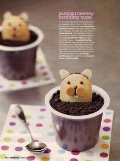 Groundhog Day pudding cups by Family Fun magazine