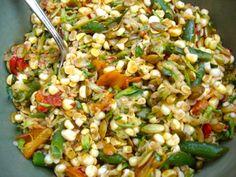 Corn, green bean, pepper salad with harissa
