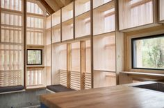 Interior of the Naust V boathouse with pine plywood and polycarbonate sheets by Koreo Architects and Kolab Architects