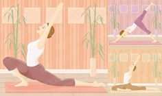 Yoga exercise female vector material