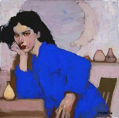 """""""The Blue Coat"""" by Milt Kobayashi  12"""" x 12""""   oil on canvas  Gorgeous color and what an image!"""