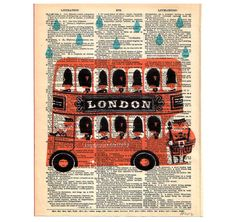 London BUS Double Decker Childrens Dictionary by PatricianPrints