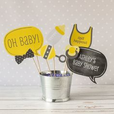 It's not a proper baby shower photo booth without fun personalized photo booth props!