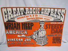 Great Rock Express German Concert Poster 1974 - Uriah Heep, America, Steely Dan