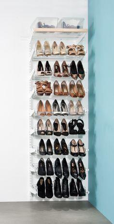 elfa gliding shoe rack. Available at Howards Storage World