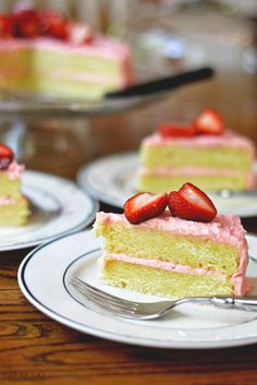 Strawberry Lemon Cake with the BEST Strawberry Frosting! bethcakes.com