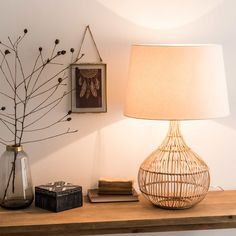 Woven Lamp with White Shade   Maisons du Monde Wicker Lamp Shade, Bedside Table Styling, Scandinavian Style Bedroom, Desktop Lamp, Bedroom Artwork, Table Lamps For Bedroom, Workspace Inspiration, Home Office Design, Office Designs