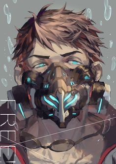 Since I won't make another long post of Free! gasmask, here I made sousuke for an event a week ago o)-) Haru and friends are here Manga Anime, Anime Guys, Anime Art, Anime Style, Anime Mascaras, Orca Art, Yamazaki Sousuke, Arte Robot, Splash Free