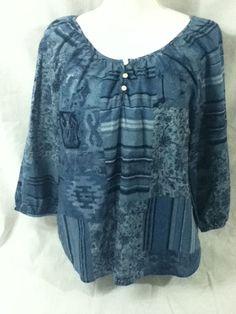 LRL LAUREN JEANS CO Semi Sheer Blue Cotton Peasant Top Shirt Blouse Large NWT #LRLLaurenJeansCo #Blouse #Casual