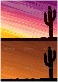 Desert Cactus  #GraphicRiver         Cartoon landscape of a desert at dusk. 2 color variations.