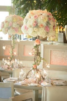 Pastel and ivy tall centerpieces //  Floral Sentiments //  The Studio Photographers