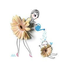 A gallery of fashion images from Adolie Day Adolie Day is a French illustrator. Mother Daughter Art, Mother Art, Creative Illustration, Cute Illustration, Art Floral, Capa Do Face, Illustration Mignonne, Art Mignon, Creative Artwork